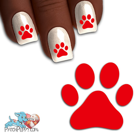 Crimson Team Spirit Paw Print - Nail Art Decals (Now! 50% more FREE)