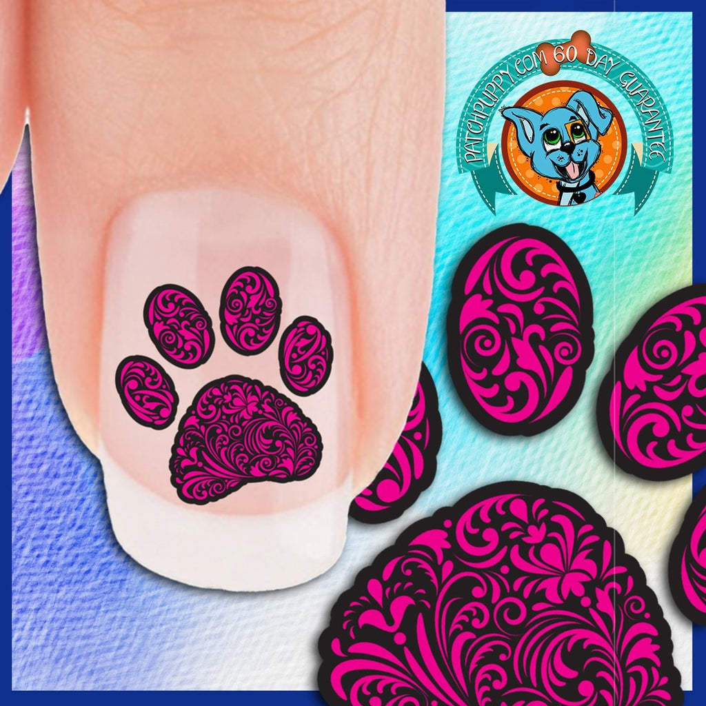 Curly Q Paw Prints Multiple Color Choices Nail Art Decals Now 50