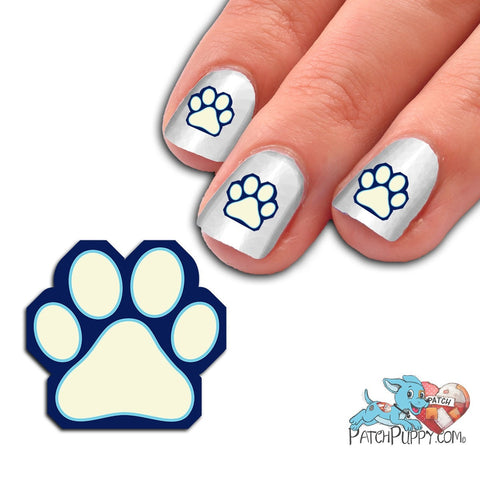 Sapphire blue, Light Blue and White Team Spirit Paw Print - Nail Art Decals (Now! 50% more FREE)