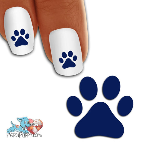 Navy Blue Team Spirit Paw Print - Nail Art Decals (Now! 50% more FREE)