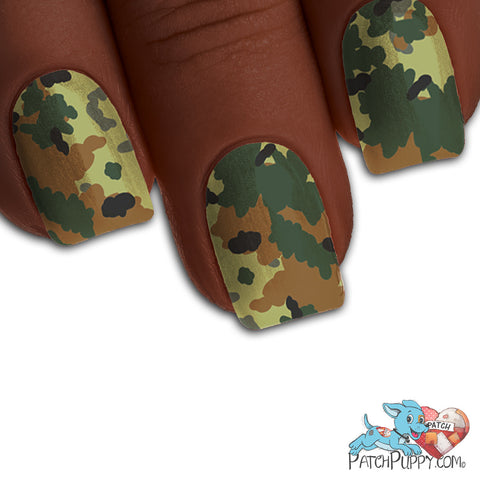 Digital Green Camo Nail Wraps