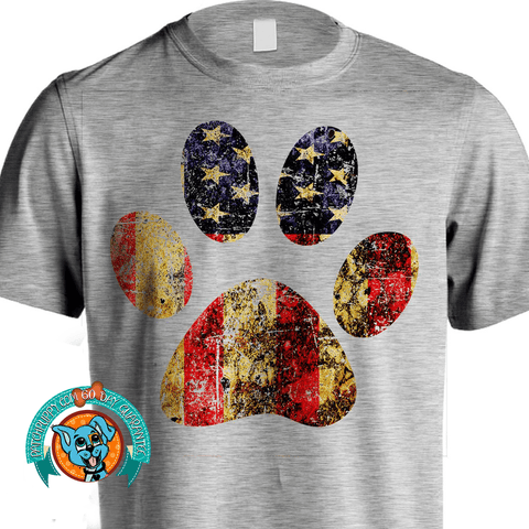 Distressed Flag Patriotic Paw Print Tee