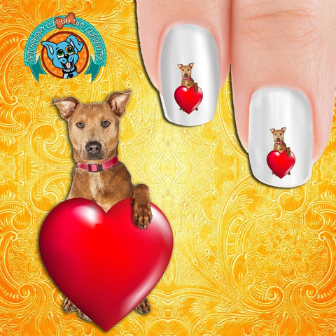 Dog with a Heart Nail Art Decals (Now! 50% more FREE)