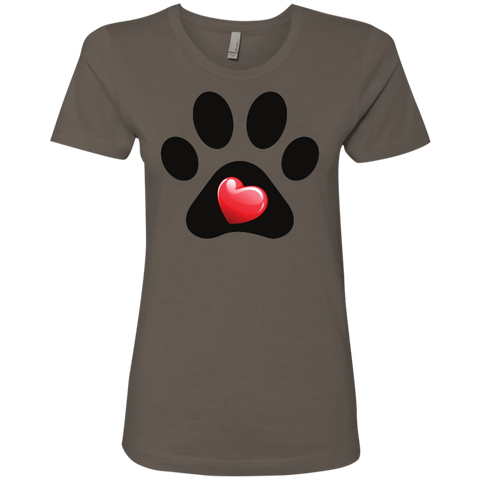 My Heart Paw Print Next Level Ladies' Boyfriend Tee