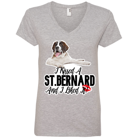 I Kissed a St. Bernard Ladies V-Neck Tee