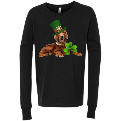 St Patricks Day English Setter Bella+Canvas Youth Jersey Long Sleeve