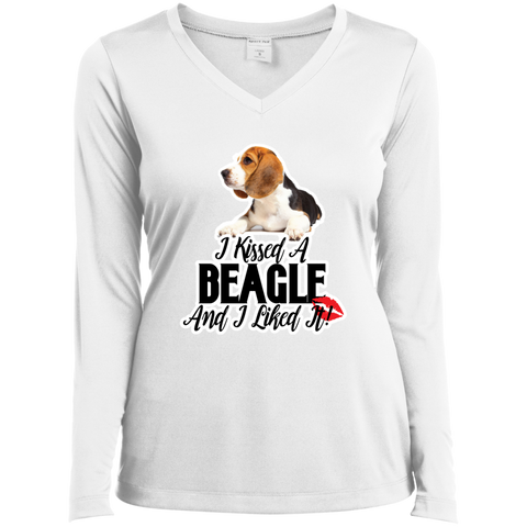 I kissed a Beagle and I liked it LST353LS Sport-Tek Ladies' LS Performance V-Neck T-Shirt