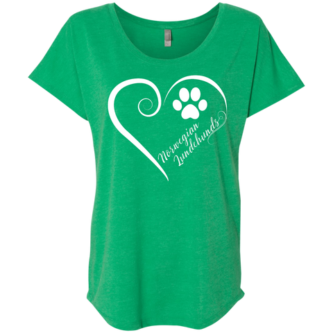 Norwegian Lundehund, Always in my Heart  Ladies Triblend Dolman Sleeve