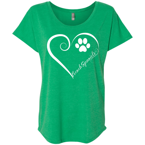French Spaniel, Always in my Heart Ladies Triblend Dolman Sleeve