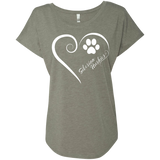 Siberian Husky, Always in my Heart Ladies Triblend Dolman Sleeve