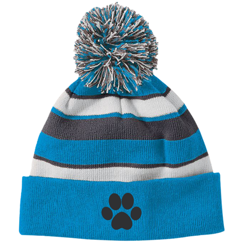 Paw Print Striped Beanie with Pom