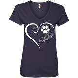 Old English Sheepdog, Always in my Heart Ladies V Neck Tee