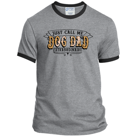 Dog Dad Extraordinaire PC54R Port & Co. Ringer Tee