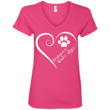 Portuguese Water Dog, Always in my Heart Ladies V Neck Tee