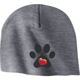 """My Heart"" Paw Print Embroidered Beanie"