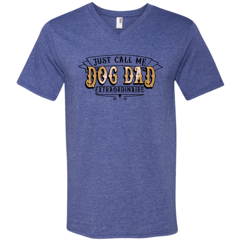 Dog Dad Extraordinaire 982 Anvil Men's Printed V-Neck T-Shirt