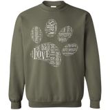 Paw Print Word Cloud Crewneck Pullover Sweatshirt 8 oz