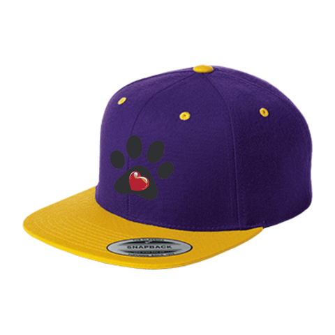 My Heart Paw Print Flat Bill High-Profile Snapback Hat
