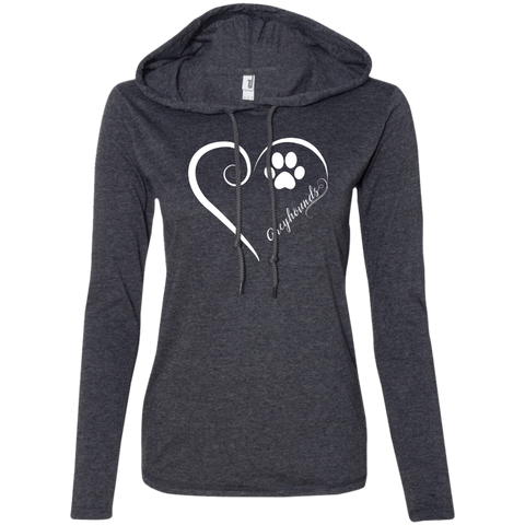 Greyhound, Always in my Heart  Ladies LS T-Shirt Hoodie