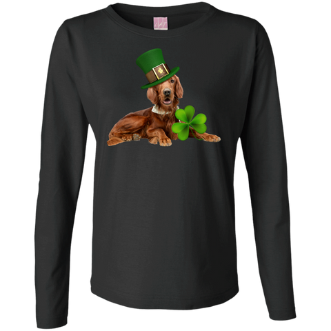 St Patricks Day English Setter Fitted Ladies Long Sleeve Cotton TShirt