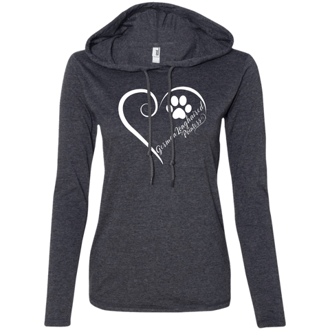German Longhaired Pointer, Always in my Heart Ladies LS T-Shirt Hoodie