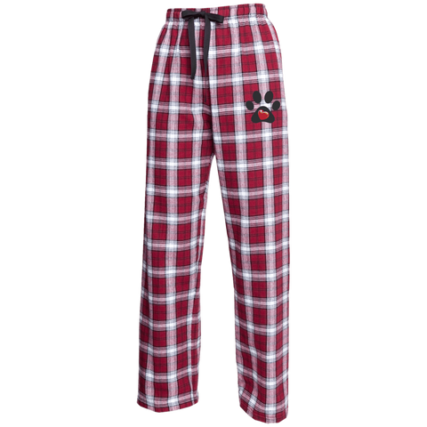 """My Heart"" Paw Print Unisex Custom Embroidered Flannel Pants"