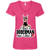 I kissed a Doberman Ladies V-Neck Tee