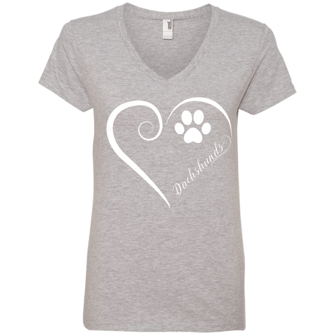 Dachshund, Always in my Heart Ladies V Neck Tee