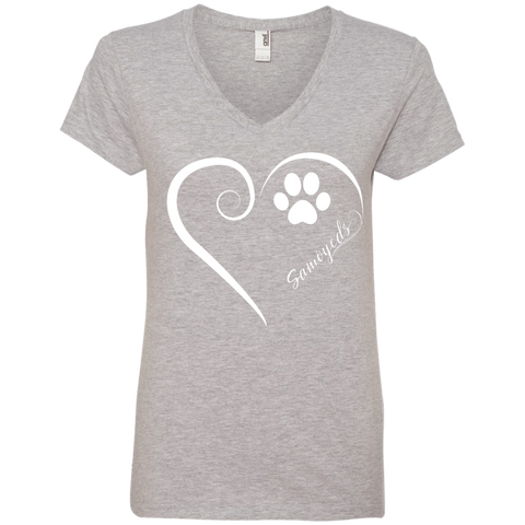 Samoyed, Always in my Heart  Ladies V Neck Tee