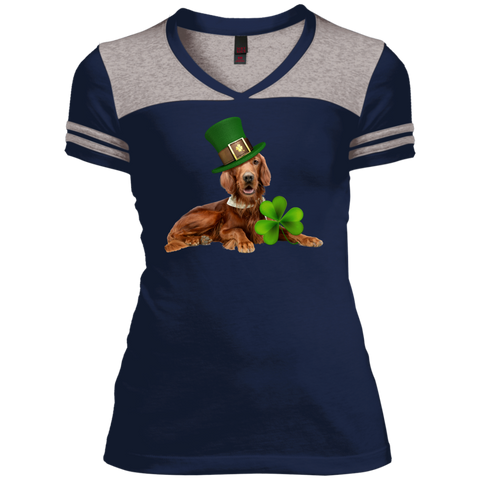 St Patricks Day English Setter Fitted Juniors Varsity V-Neck Tee