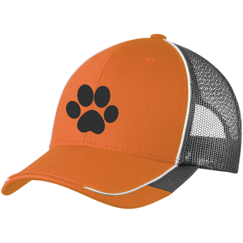 Paw Print Colorblock Mesh Back Cap