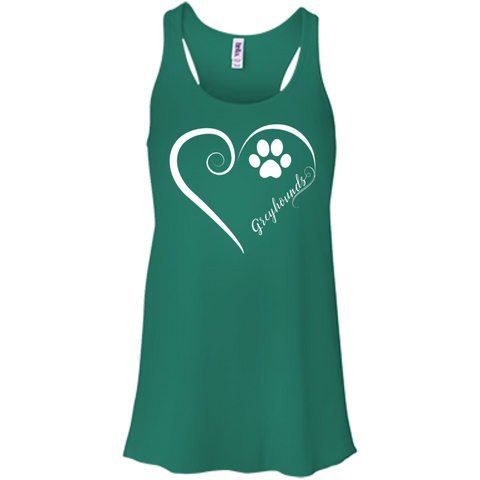 Greyhound, Always in my Heart Flowy Racerback Tank