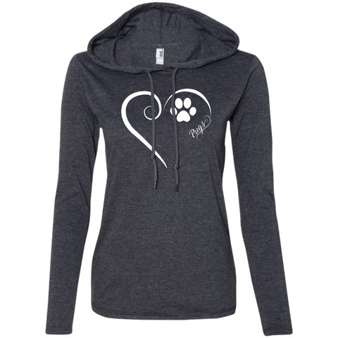 Pug, Always in my Heart Ladies T-Shirt Hoodie
