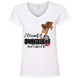 I kissed a Puggle Ladies V-Neck Tee