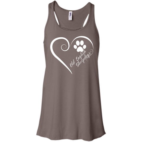 Old English Sheepdog, Always in my Heart  Flowy Racerback Tank