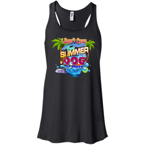 Don't Care Summer Juniors Flowy Racerback Tank