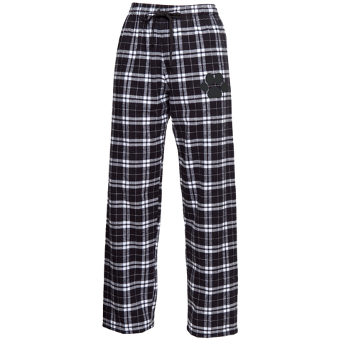 Paw Print Unisex Embroidered Flannel Pants