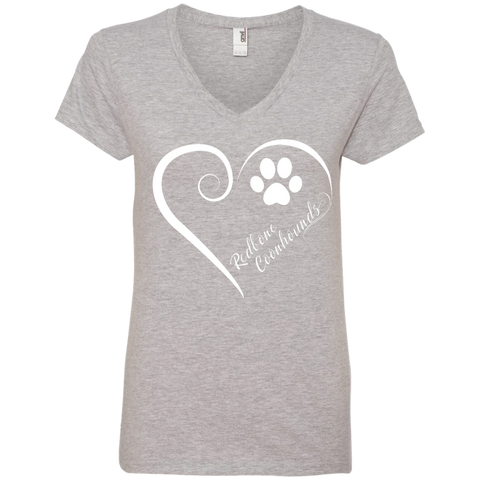 Redbone Coonhound, Always in my Heart Ladies V Neck Tee