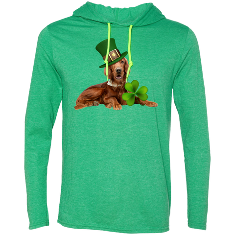 St Patricks Day English Setter Adult LS T-Shirt Hoodie