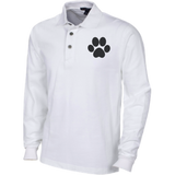 Paw Print Long Sleeve Pique Knit Polo