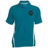 Paw Print Mens Colorblock 3-Button Polo