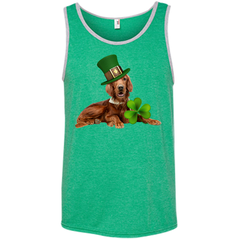 St Patricks Day English Setter Adult Unisex 100% Ringspun Cotton Tank Top