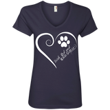 Irish Red and White Setter, Always in my Heart Ladies V Neck Tee