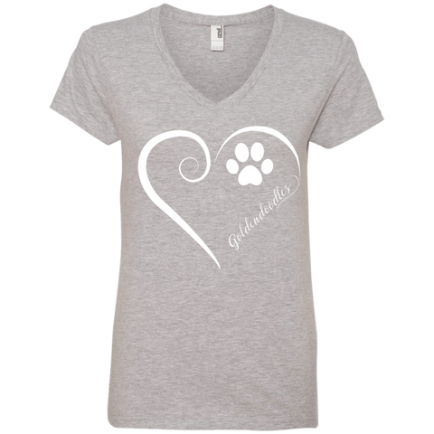 Goldendoodle, Always in my Heart Ladies V Neck Tee