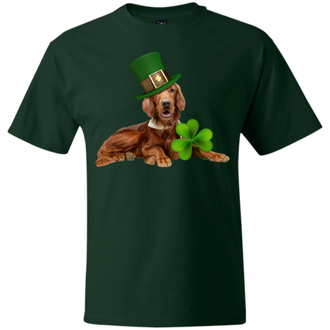 St Patricks Day English Setter Basic Adult Unisex Hanes Beefy T
