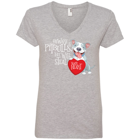 Pit bulls Steal Your Heart Ladies' V-Neck Tee