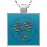 No Longer By My Side Circle with Rainbow Heart UN4684 Square Necklace