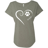 Saluki, Always in my Heart Ladies Triblend Dolman Sleeve