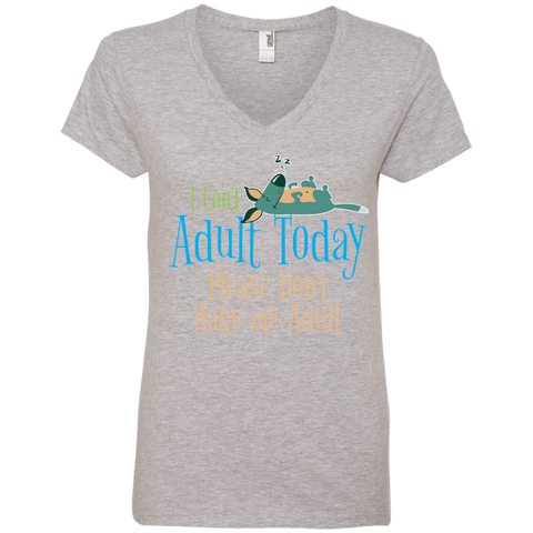 Please Don't Make Me Adult Ladies V-Neck Tee