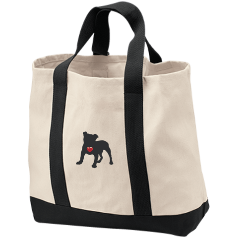 My Heart English Bulldog Embroidered 2-Tone Shopping Tote
